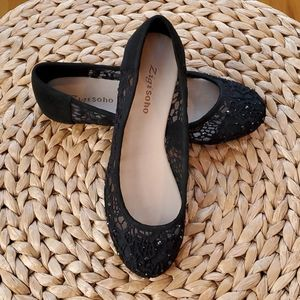 Zigi Soho Crystal Lace Black Ballet Flats NEW